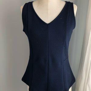 Navy blue woven v neck peplum top